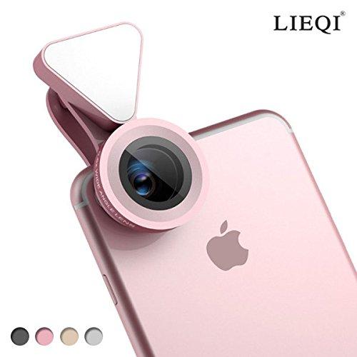 LIEQI JAPAN LQ-035 広角レンズ iphone スマホ用カメラレンズ スマホ 広角 レンズ マクロレンズ 全機種対応 自撮り棒不要 iPhone Android タブレット (ピンク)