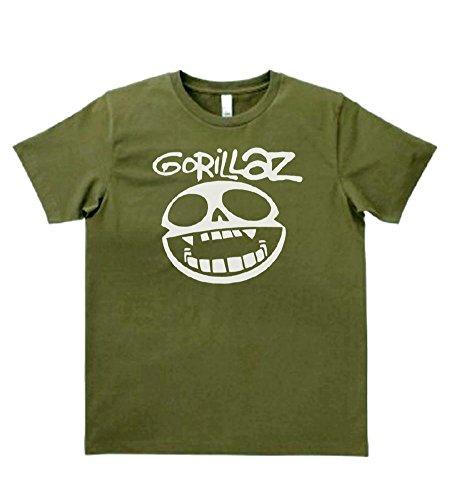 【ノーブランド品】 音楽 バンド ロック GoRiLLaZ Tシャツ カーキー MLサイズ (L)