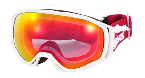 SWANS(スワンズ)大人用 成型球面 レッドミラー ダブルレンズ スノーゴーグル スキー スノーボード 060MDHS Wホワイト F