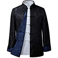 KINDOYO Mens Womens Tang Suit Tops - Both Sides Coat Jacket Long Sleeve Martial Arts Kung Fu Shirts