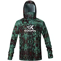 KOOFIN GEAR Performance Fishing Hoodie with Face Mask Hooded Sunblock Shirt Sun Shield Long Sleeve Shirt UPF 50 Dry Fit Quick-Dry