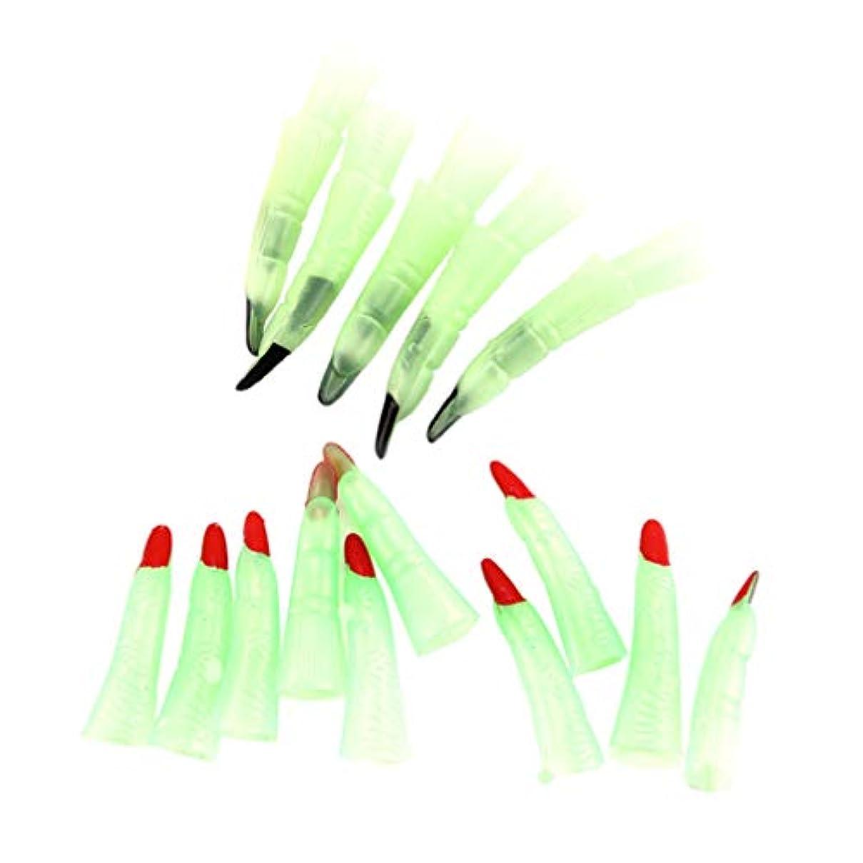 飽和する段落女の子STOBOK 20個ハロウィーンの魔女発光指不気味な偽の指パーティーハロウィーンの衣装のための衣装の指を小道具