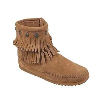(ミネトンカ)MINNETONKA 692 DOUBLE FRINGE SIDE ZIP BOOT ダブル フリンジ サイド ジップ ブーツ US5.5(約22.0-22.5cm) BROWN[ 692 ](並行輸入品)