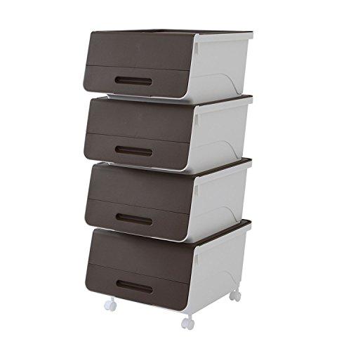 山善(YAMAZEN) オープンボックス フタ付き収納ボックス 4個組 浅型 キャスター付き サンドブラウン