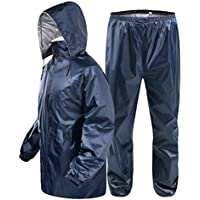 BYWSD Raincoat Rain Pants Suit,Double Thick Waterproof Outdoor Riding Fishing Raincoat Thick Poncho (Color : Tibetan Greens Color, Size : XXXL)