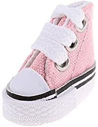 Fenteer 12インチバービー人形服のため レースアップ キャンバス シューズ 靴 コレクション 4色選択 - ピンク
