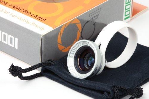 【ノーブランド品】 iphone/ipad/スマホ 2in1カメラレンズ シルバー 銀 (ワイド/0.67倍 マクロ/16mm) レンズ コンバージョン iphone アイフォン ワイドレンズ マクロレンズ ギャラクシー lu-ln-008
