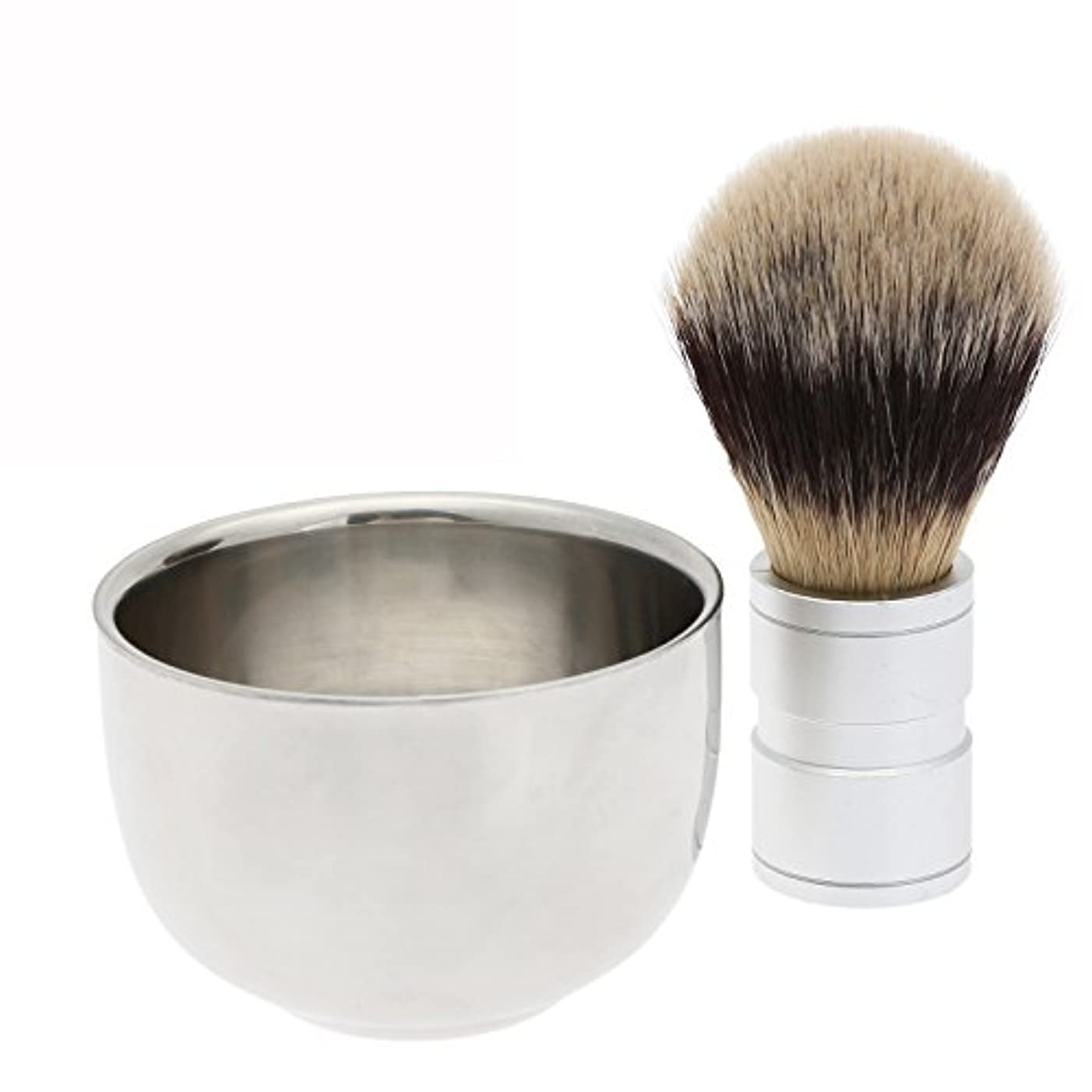利点穀物熱望する2PC/セット メンズシェービング用 シェービングブラシ +ステンレス鋼のボウルマグカップ ギフト 理容 洗顔 髭剃り