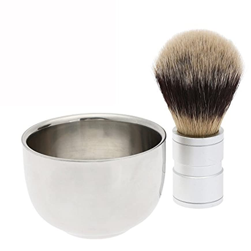 意外カブ著名な2PC/セット メンズシェービング用 シェービングブラシ +ステンレス鋼のボウルマグカップ ギフト 理容 洗顔 髭剃り