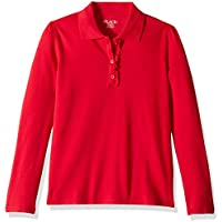 The Children's Place Girls 2044389 Long Sleeve Ruffle Polo Shirt Long Sleeve Polo Shirt - red