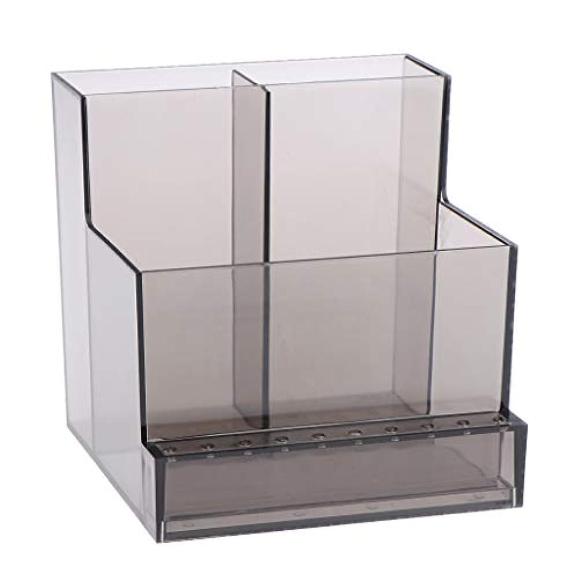 ランチ連続したアレルギー性ネイルアート ドリルビットホルダー スタンド ディスプレイボックス ネイルサロン 収納ボックス 2色選べ - ブラック