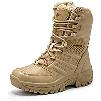SGJFZD Boot for Men Outdoor Combat Boots Lace Up Genuine Leather Military Wear Resistant Round Toe Side Zipper Anti-Skid Boots (Color : Sand, Size : 9.5 UK)