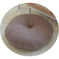 リネン布団クッションは、ラウンドファブリック床瞑想和風バルコニー窓の畳のクッション,取り外し可能で洗濯可能な軽いコーヒーカラー,直径70cm、厚さ15cm