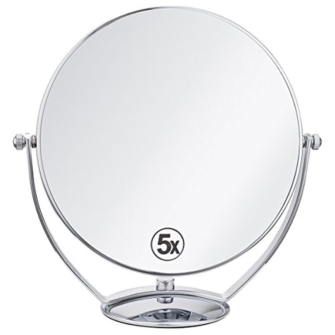 免疫民兵値する(セーディコ)Cerdeco 西洋風鏡 真実の両面鏡DX 5倍拡大鏡+等倍鏡 両面化粧鏡 360度回転 卓上鏡 スタンドミラー メイク道具 大きい鏡面φ198mm j823
