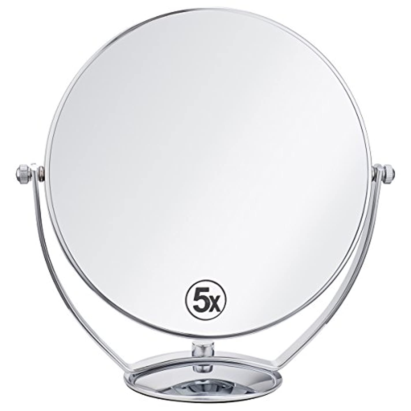 変なスクリュー流星(セーディコ)Cerdeco 西洋風鏡 真実の両面鏡DX 5倍拡大鏡+等倍鏡 両面化粧鏡 360度回転 卓上鏡 スタンドミラー メイク道具 大きい鏡面φ198mm j823