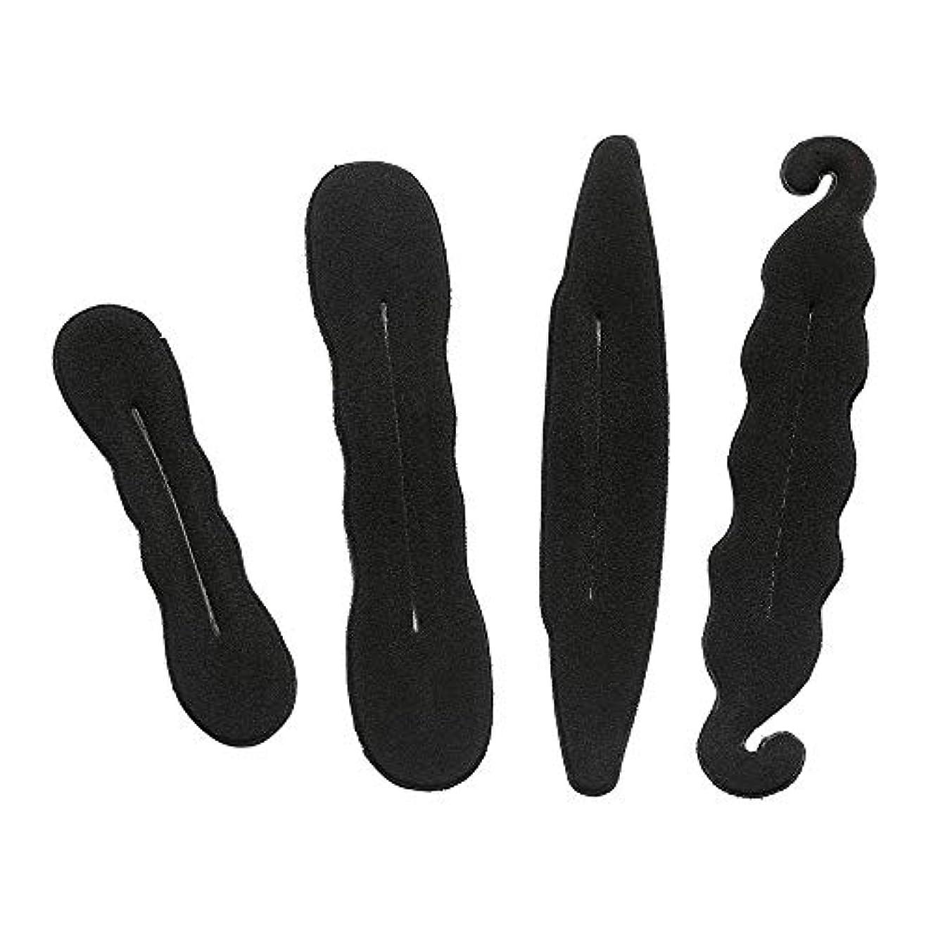 の前で中央アルミニウム4個入りお団子ヘアメーカー 長い髪向けヘアアレンジクッション ブラックお団子グッズ お団子スポンジ