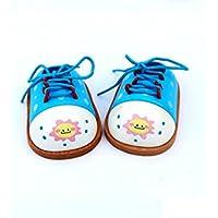 幼児期のゲーム 木製玩具子供靴パズル教育用おもちゃ(青)