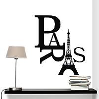 AmaonmR Removable Vinyl Black Eiffel Tower Art Paris Home Decor Wall Sticker Decals Mural Wallpaper for Kids Boy and Girl Room Bedroom Living Room Wall Decoration Wall Decorative [並行輸入品]