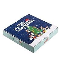 10個 ピザボックス、クリスマステーマパターンピザボックス、テイクアウトコンテナーパッキングピザクッキーケーキボックス、9インチx 10インチ