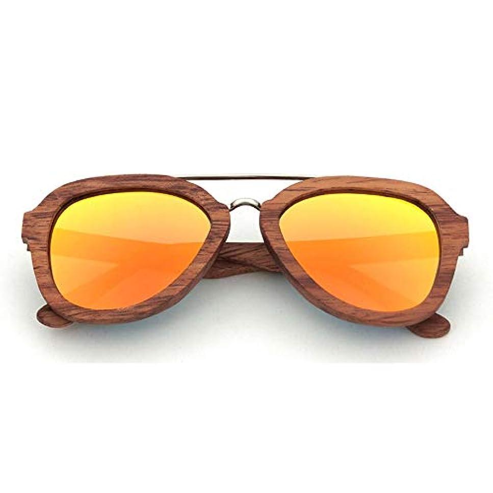 世界の窓幻想的有望サングラス 男性/女性用ウッド偏光サングラス、ウッドパイロットサングラスサングラス, ファッションサングラス (色 : オレンジ)