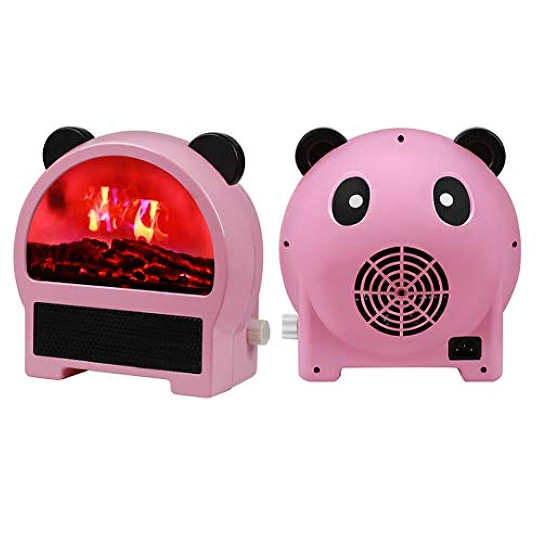 ロゴ巻き戻すなす小型 電気ファンヒータースマートデスクトップミニヒーター過熱保護3段階切替式 1000W 35度の傾き保護防寒速暖静音セラミックヒーター脱衣所 トイレ 洗面所 クリスマスプレゼント,PandaPink