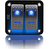 FXC Rocker Switch Aluminum Panel 2 3 4 5 6 Gang Toggle Switches Dash 5 Pin ON/Off 2 LED Backlit for Boat Car Marine