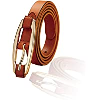 Miss Callory Narrow Belt Real Leather Adjustable Waist Belt for Women and Girls (Brown)