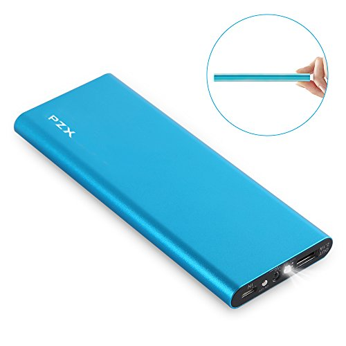 KYOKA 薄型 軽量 大容量 11200mAh LEDライト付き 持ち運び急速充電器USBスマホモバイルバッテリー iPhone/iPad/Android各種他対応 (ブルー)