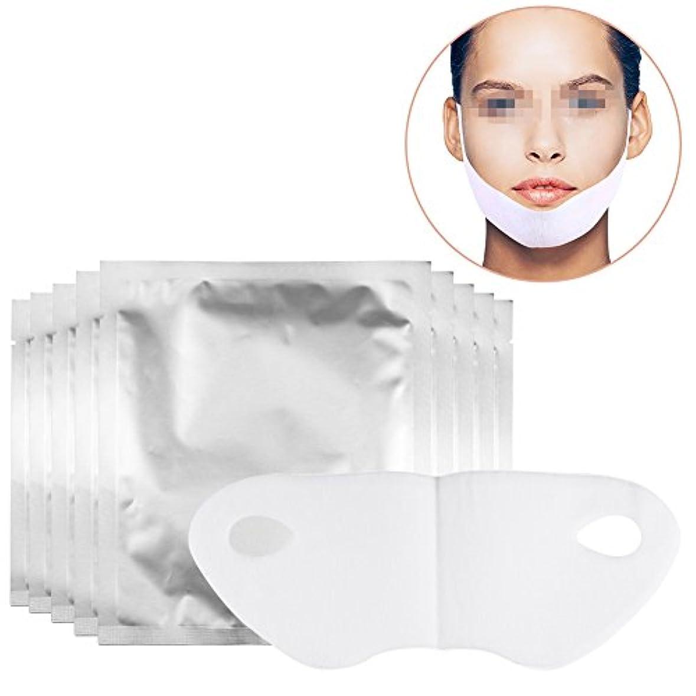 コンペ細心の骨の折れるスリミングフェイスマスク、v整形マスクリフトvシェイプフェイスチンチェックネックリフトピールオフマスク2ピース