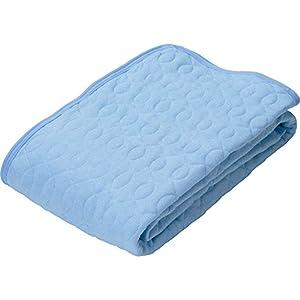 敷きパッド 接触涼感 吸湿性 レーヨン素材 洗える ゴムバンド付き 心地よいサラふわ触感 幅100×奥行205cm シングル ライトブルー