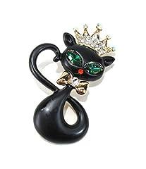 気品溢れる プリンセス キャット グリーンの 瞳が 美しい 黒猫 ブローチ