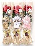 【Present Bear】 1輪くま束 アソート3本セット ティアラ付くま1匹と薔薇の造花1輪 安心品質の国内製作 (エレガントベージュ)
