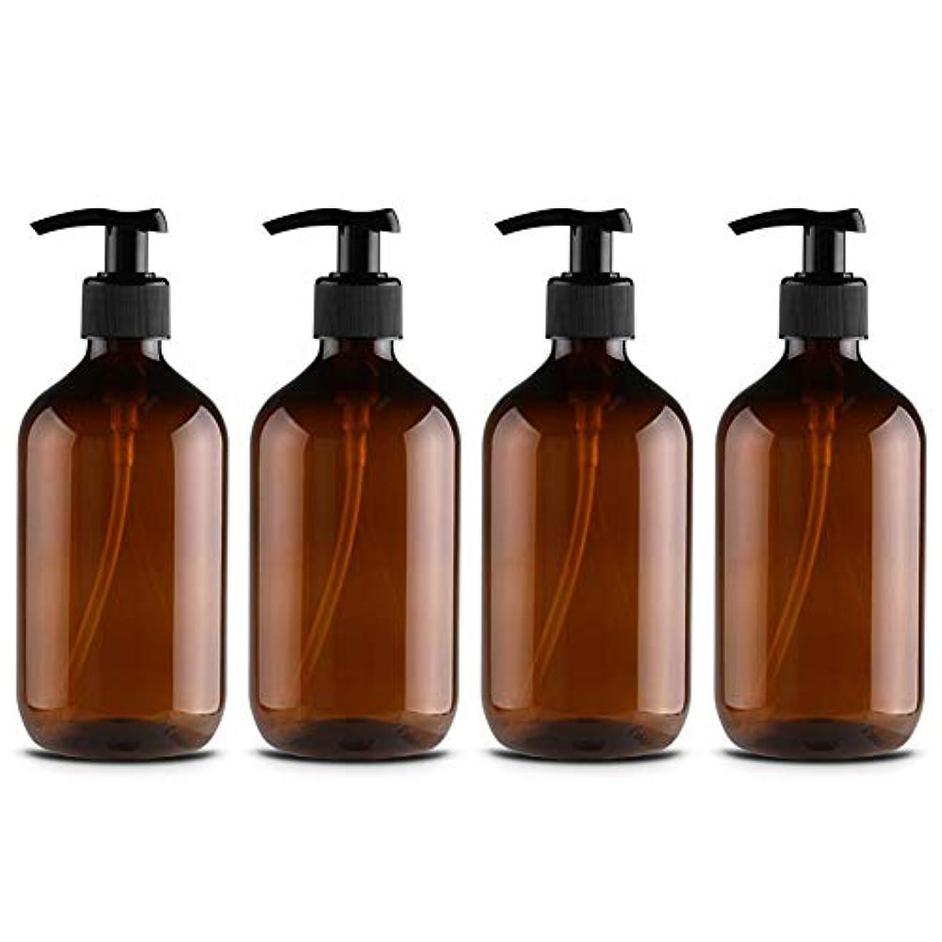 TeFuAnAn 500ml 4個入り 化粧品ボトル 分けボトル ローションボトル シャンプーボトル シャワージェルボトル ハンドローションボトル 空ポンプボトル 携帯詰め替え容器 漏れ防止