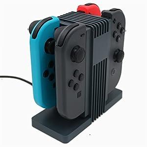 IVSO Nintendo Switch Joy-Con 充電スタンド Nintendo Switch充電ホルダー Nintendo Switchチャージドック 4台コントロールと充電可 LEDインジケータ Nintendo Switchに適用スタンド(ブラック)