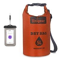 Unigear 新型ドライバッグ コンパクトに収納 防水バッグ 超軽量 スタッフバッグ 3色 オレンジ 青 黒 5L 10L 20L 耐水 ツーリング 旅行 キャンプ 日常 スポーツ 運動会 (オレンジ, 5L)