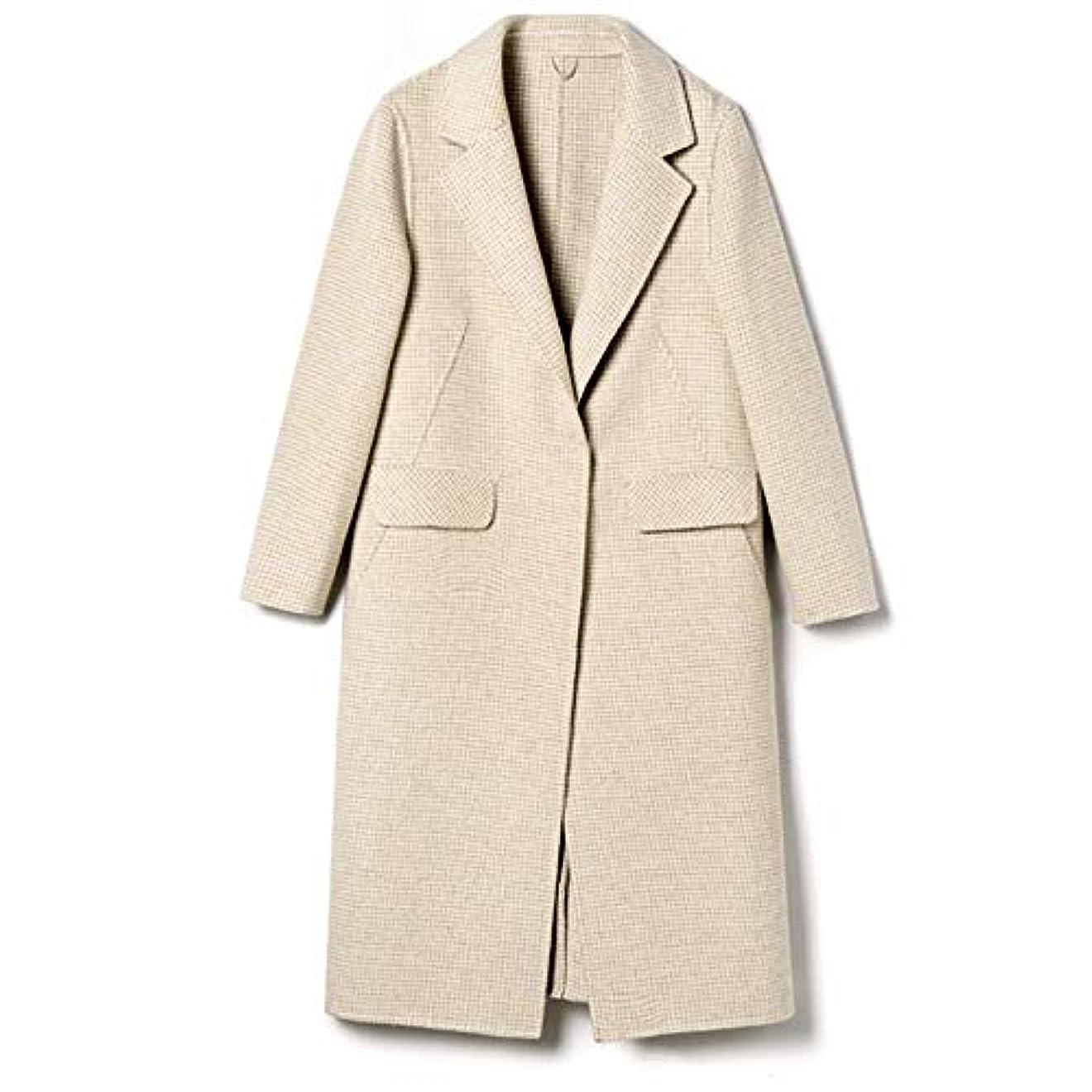 きしむ呪いチケット秋と冬の新しいウールコート、ハンドメイド両面カシミヤコート長いセクションの女性ウールコートレディースジャケットレディースウインドブレーカージャケット,C,XL