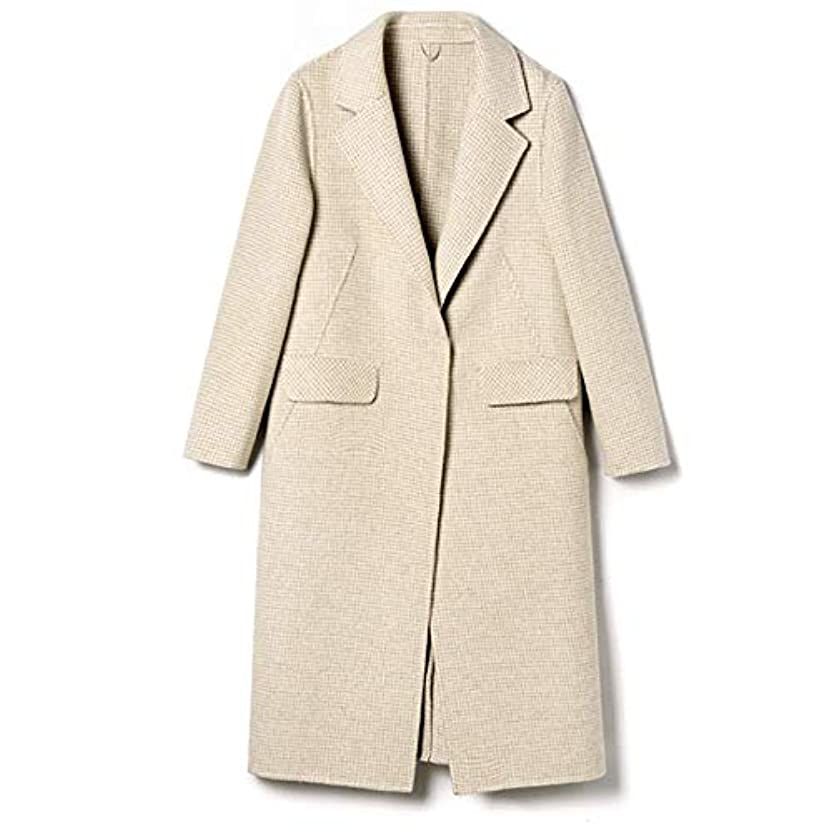 固める後後秋と冬の新しいウールコート、ハンドメイド両面カシミヤコート長いセクションの女性ウールコートレディースジャケットレディースウインドブレーカージャケット,C,XL