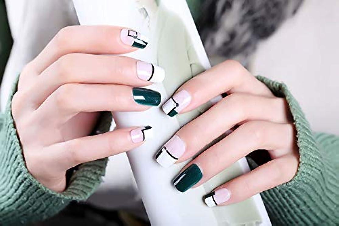 粘着性電話矢じり24個 フレンチネイル さわやかなファッション 雑誌のデザイン 優雅な手作りネイルチップ 美しい星空 (幾何学ダークグリーン)