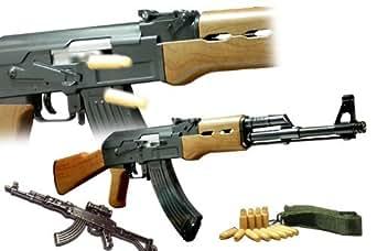 AK-47 カート式エアーガン (Avtomat Kalashnikova-47)付属品:ミリタリーキーホルダー1個 【対象年齢18歳以上】