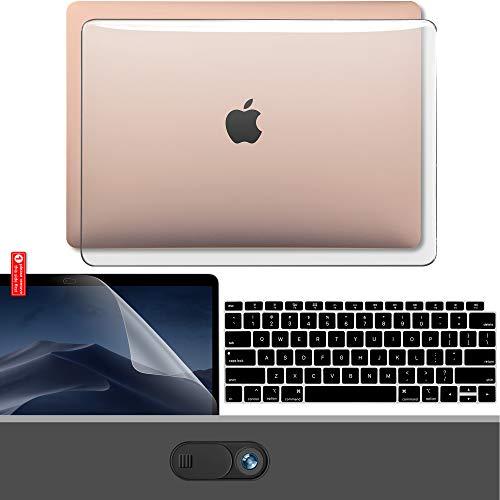 最新 MacBook Air 2018 13.3 インチ ケース A1932 Touch Bar GMYLE 4 in 1パソコン セット, 保護フィルム, キーボードカバー [US配列], コネクタカバーが - 透明