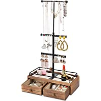 Keebofly New Jewelry Organizer, Metal Wood, Black, 3-Tier with Drawer