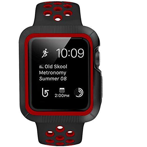 BRG コンパチブル apple watch バンド と コンパチブルapple watchケース のセット コンパチブルapple watch series3/2/1 用のコンパチブルアップルウォッチバンドとコンパチブルアップルウォッチ ケースのセット (42mm,黒/レッド)