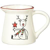 Pavilionギフト会社Holiday HooplaトナカイセラミッククリスマスCreamer Dish、3.5インチ、レッド