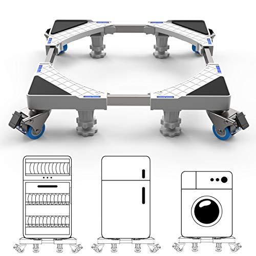 新洗濯機 台 冷蔵庫置き台 DEWEL 耐荷重約300kg 4足8輪 かさ上げ 移動式 伸縮式 幅/奥行44.8~69cm ジャッキ付き キャスター付き 減音防振 調節簡単 昇降可能 丈夫 ステインレス製 防振パッド付き