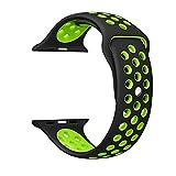 Ostart Apple Watch バンド アップルウォッチ 高級のシリコーン製ストラップ/ベルト アップルウォッチ Nike+ / New Apple iWatch Series 2 / Apple Watch Series 1 に交換 バンド (42mm, black+green)