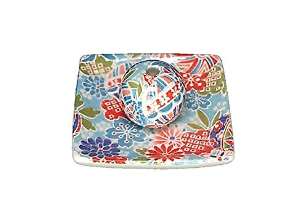 京雅 青 小角皿 お香立て 陶器 製造 直売