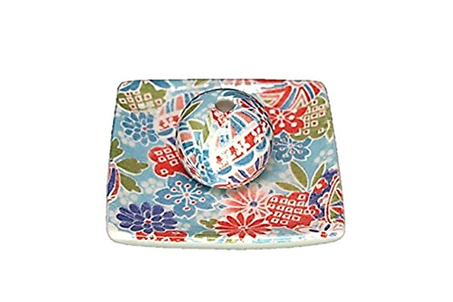 ファイアルキャンディーチョコレート京雅 青 小角皿 お香立て 陶器 製造 直売