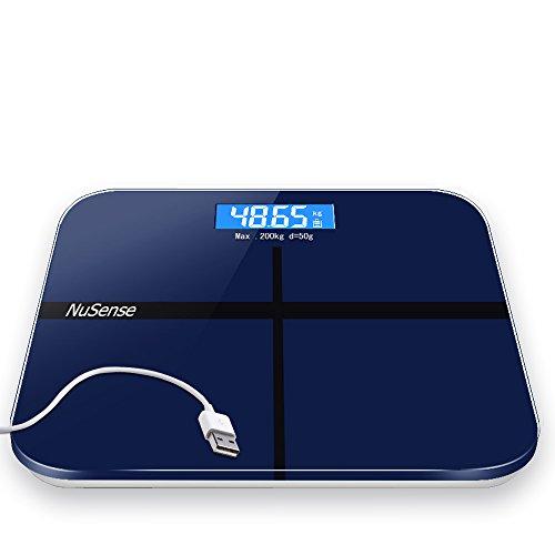 NuSense体重計 USB充電式デジタルヘルスメーター電子式はかり ボディースケール高精度スマートデザイン電池不要エコ 200kg計量精度50g (ダークブルー)