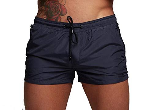 TONLEN Mens Swimwear Sports Shorts Swim Trunks with Zipper Pockets - Blue - US XL_Asia Tag XXL,Waist:33.5