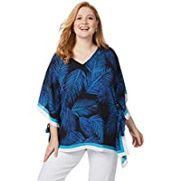 Beme Elbow Sleeve V Neck Palm Kaftan - Womens Plus Size Curvy